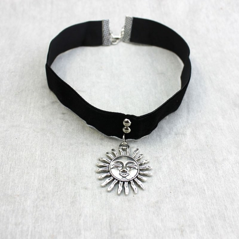 5017-d07799512d5b61845149f89612bb2dfa Gothic Leon Black Velvet Ribbon Choker Necklace With Sun Pendant