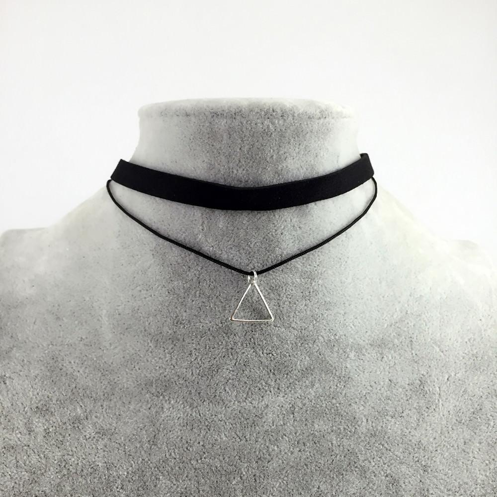 5018-4a8e6679e49bc874f1edc83e463de28e Black Imitation Leather Choker Necklace With Geometric Shaped Pendant