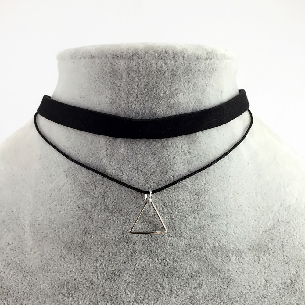 5018-76149cff5f00993ad73c97daafddb171 Black Imitation Leather Choker Necklace With Geometric Shaped Pendant