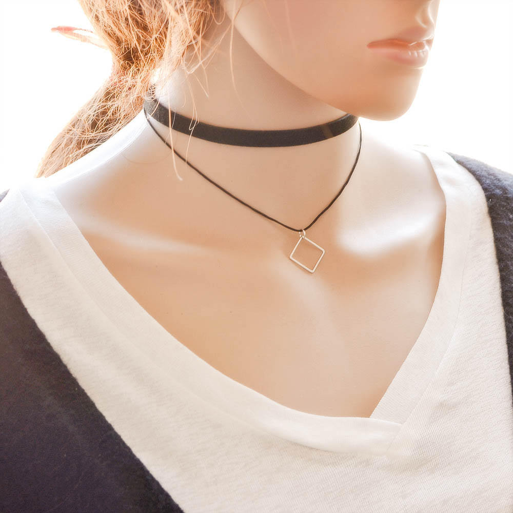5018-dec885b716553bed73b74cc8bcb93365 Black Imitation Leather Choker Necklace With Geometric Shaped Pendant