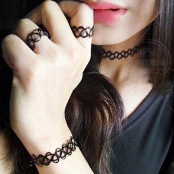 Punk Gothic Stretch Tattoo Choker Necklace Jewelry