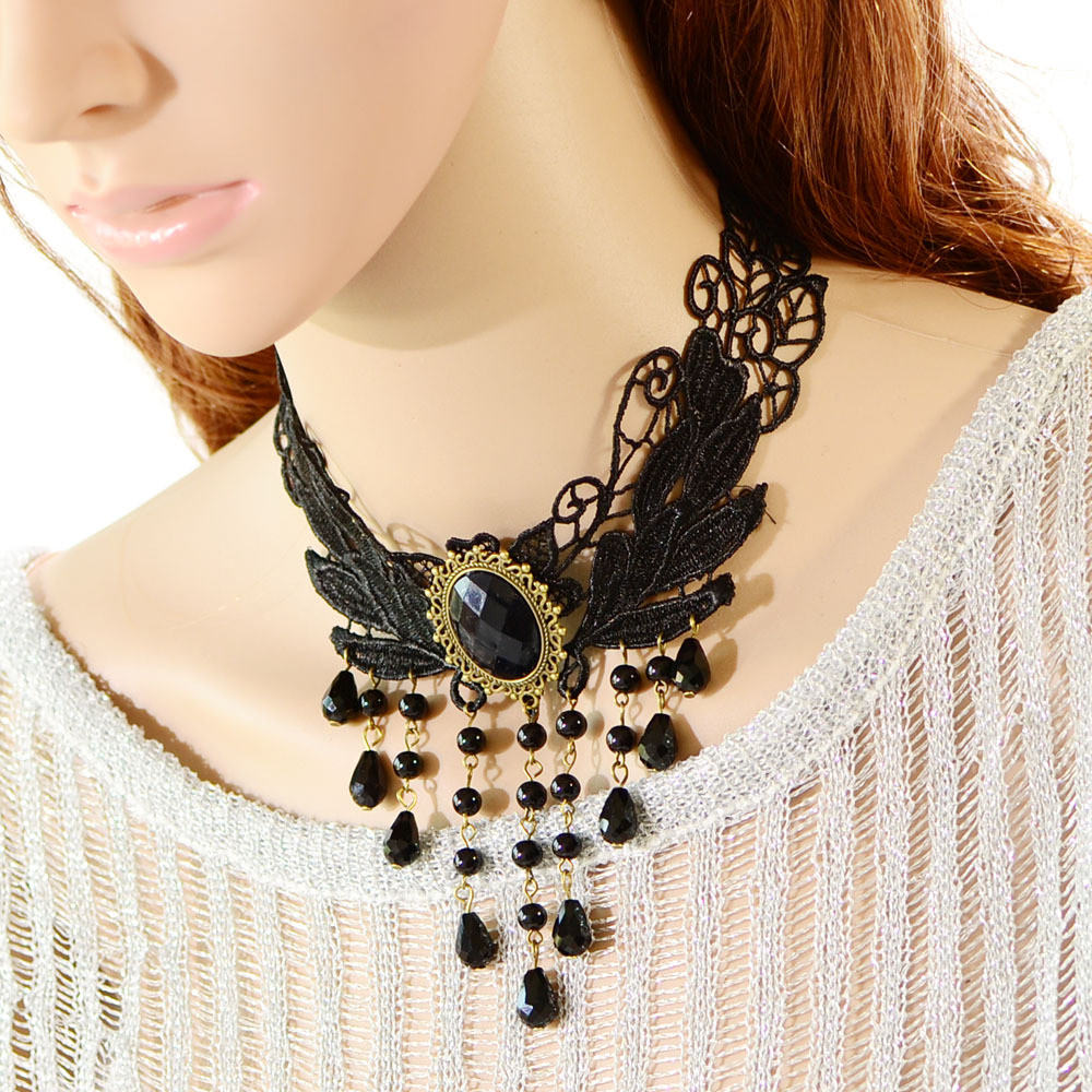 5024-426c50b45e4a0955c951a39068efa49c Elegant Black Lace Choker Necklace With Crystal Accent And Droplets