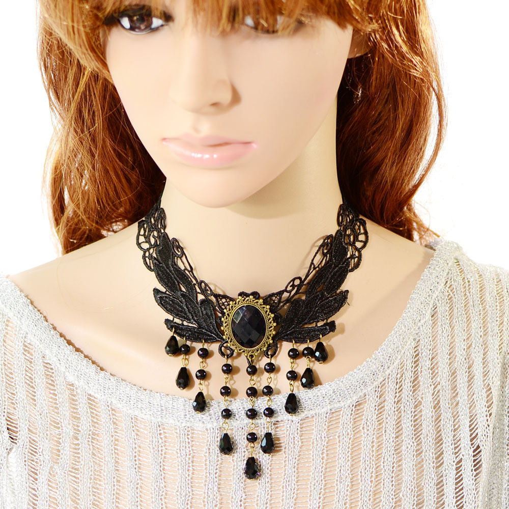 5024-8a88a608193fd23ac9d8253353ae8656 Elegant Black Lace Choker Necklace With Crystal Accent And Droplets