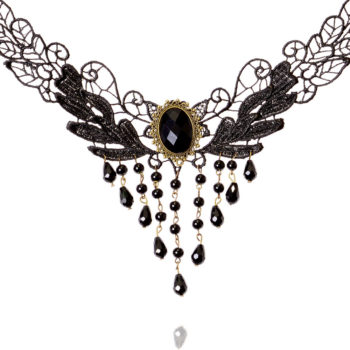 Elegant Black Lace Choker Necklace With Crystal Accent And Droplets