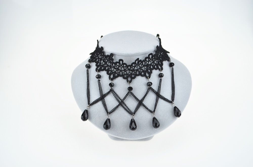 5026-8efbc7af3ea77aff1324d879c20fde07 Soft Black Lace Choker Necklace With Black Crystal Beads And Pendants