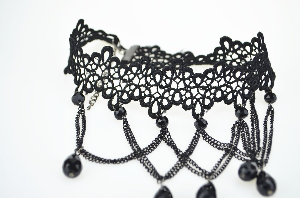 5026-b4b274aaf6d7e85de58f2485565dd79d Soft Black Lace Choker Necklace With Black Crystal Beads And Pendants