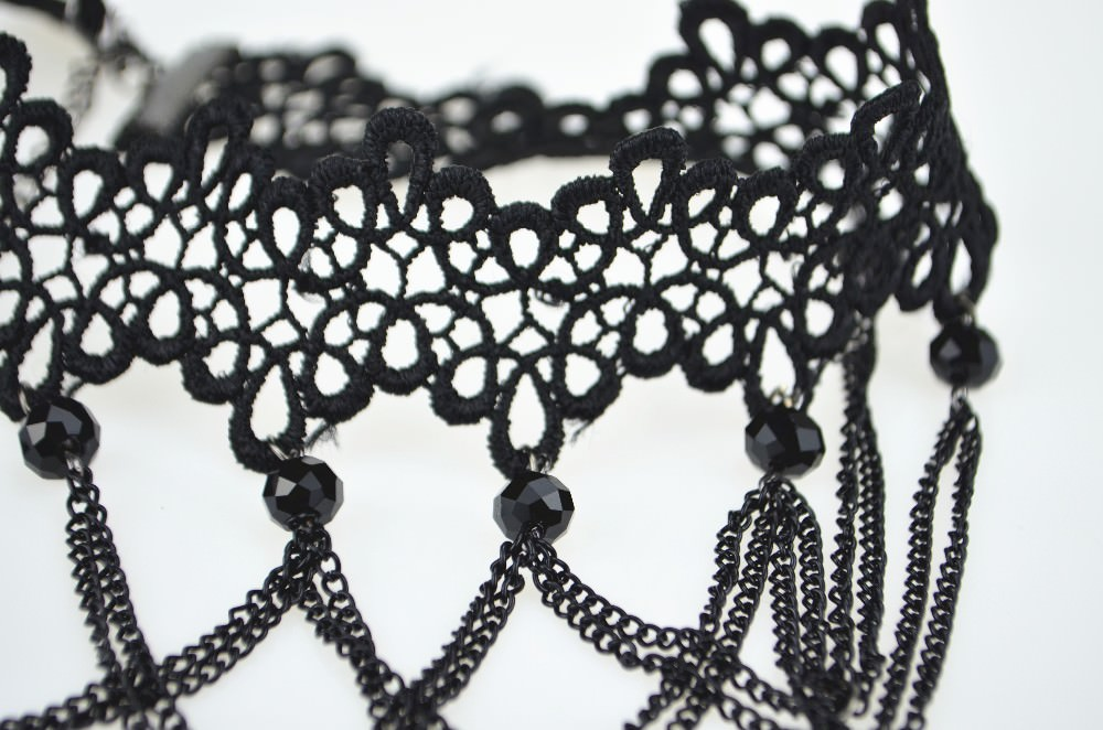 5026-b809a11e6bf4f2330b56396055607058 Soft Black Lace Choker Necklace With Black Crystal Beads And Pendants
