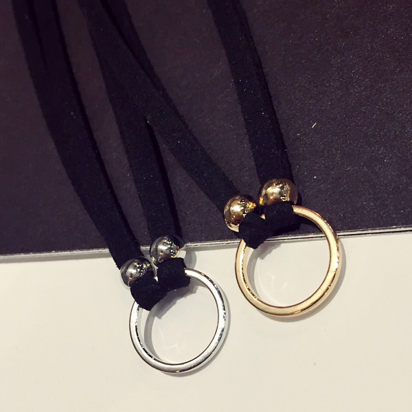 5027-74a7745f98805133512a010d370e0dfd New Fashion Suede Velvet Choker Necklace Black Cord Gold Plated Round Circle Connector Punck Style Gift For Girl Women