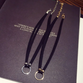 New Fashion Suede Velvet Choker Necklace Black Cord Gold Plated Round Circle Connector Punck Style Gift For Girl Women