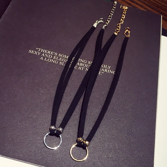 5027-fb12576a12668b5f86e7f8e678d8aa86 New Fashion Suede Velvet Choker Necklace Black Cord Gold Plated Round Circle Connector Punck Style Gift For Girl Women