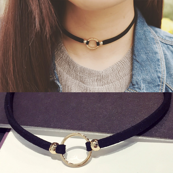5027-fcdc088f4f481294d2c28ef0e8463cd2 New Fashion Suede Velvet Choker Necklace Black Cord Gold Plated Round Circle Connector Punck Style Gift For Girl Women