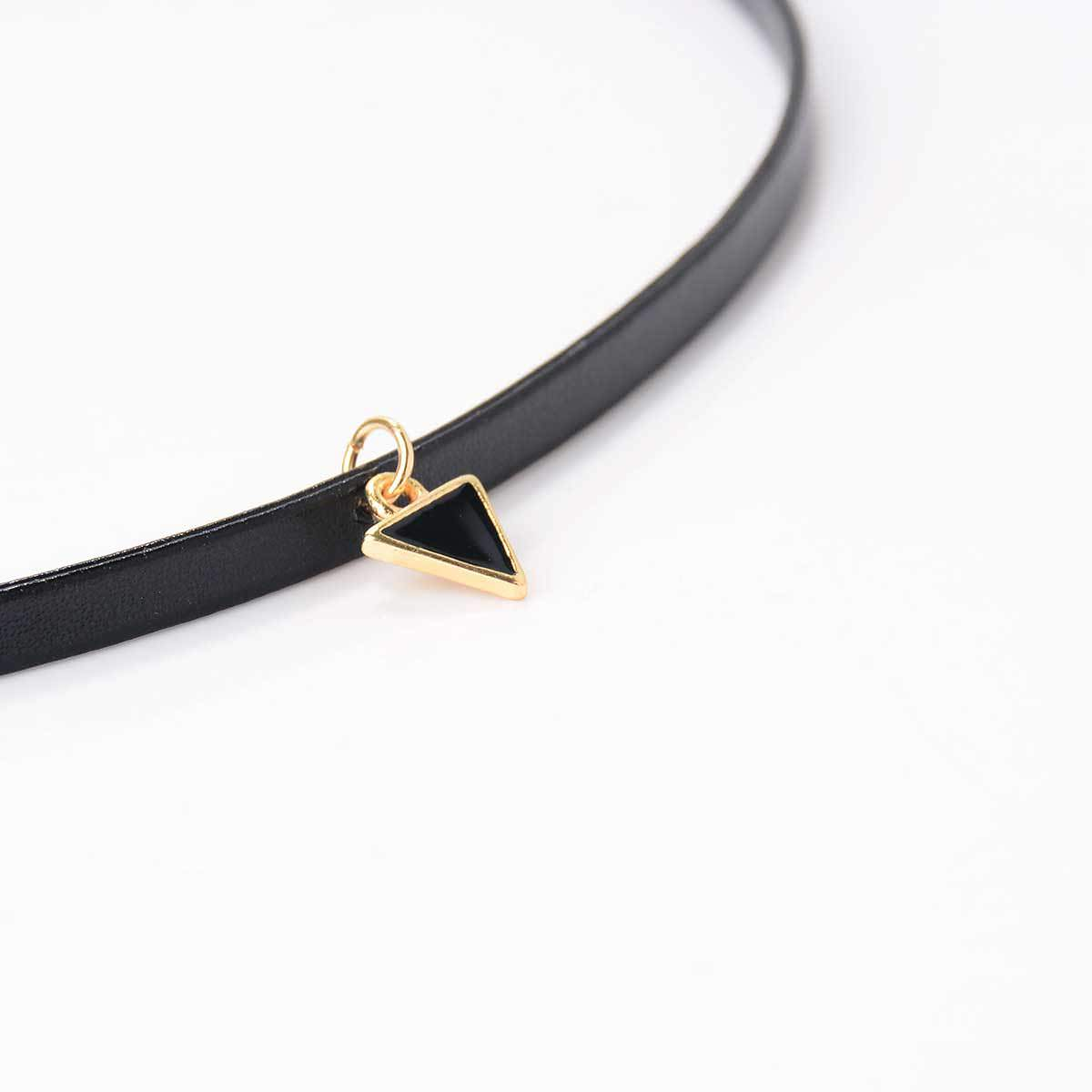 5028-564be8921a2436e62c8dcddc006cf062 Trendy Punk Style Leather Rope Choker Necklace With Triangle Pendant