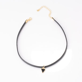 Trendy Punk Style Leather Rope Choker Necklace With Triangle Pendant