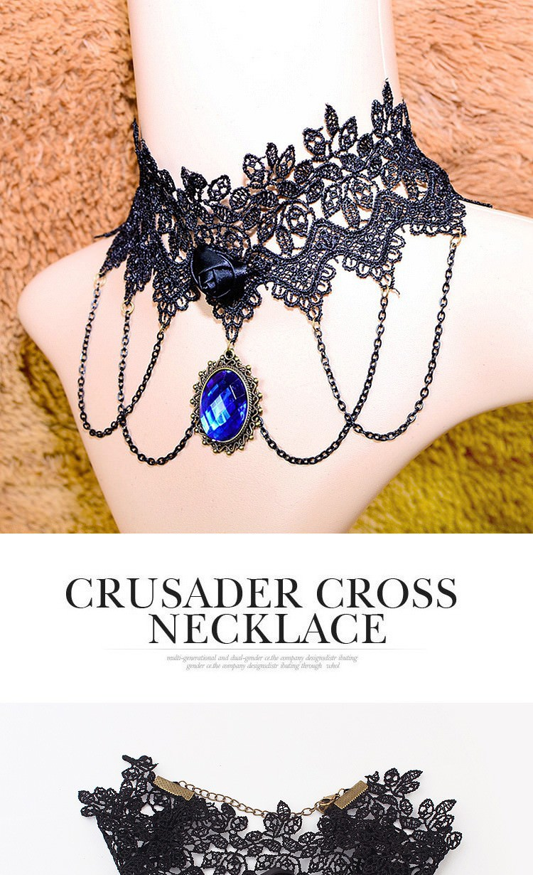5029-0abb1ffc00e472c204a727bf09ea6fda Vintage Gothic Lace Choker Necklace With Blue Crystal Pendant