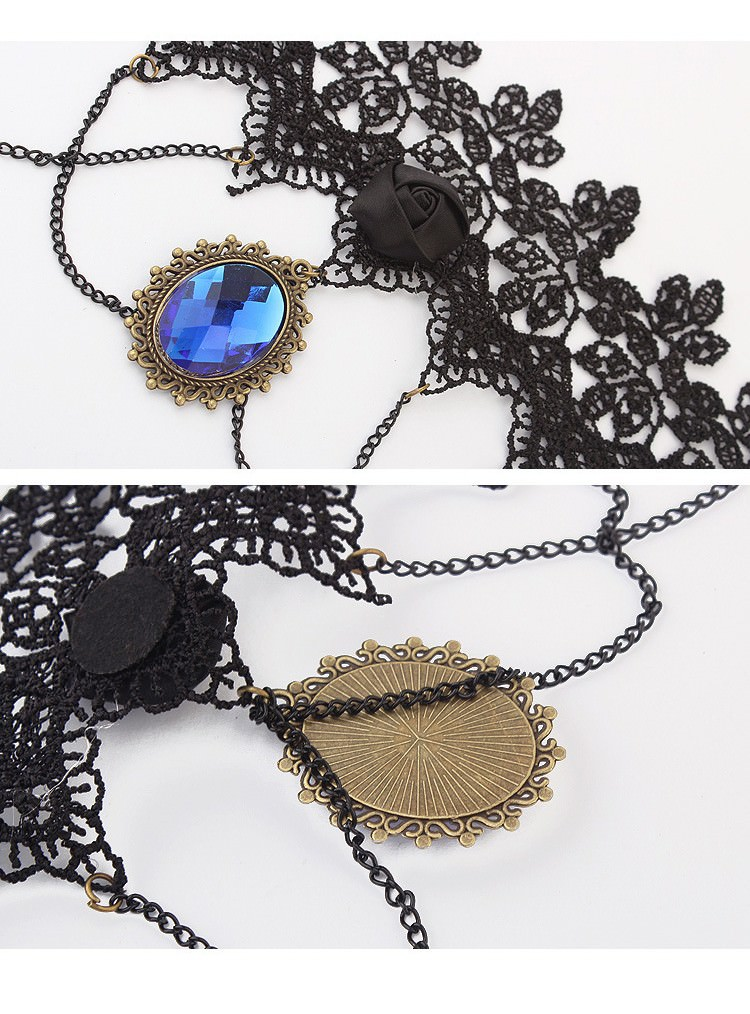 5029-6675d52c9616373b409bc179b4a21733 Vintage Gothic Lace Choker Necklace With Blue Crystal Pendant