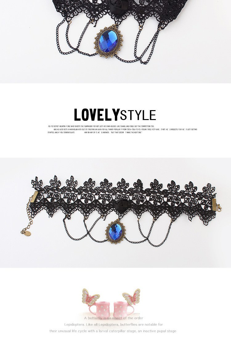 5029-b58588fdcd65e9dd026ac76bd0d927f9 Vintage Gothic Lace Choker Necklace With Blue Crystal Pendant