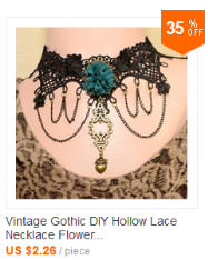 Retro Goth Black Lace Necklace Jewelry With Chains And Crystal Pendant