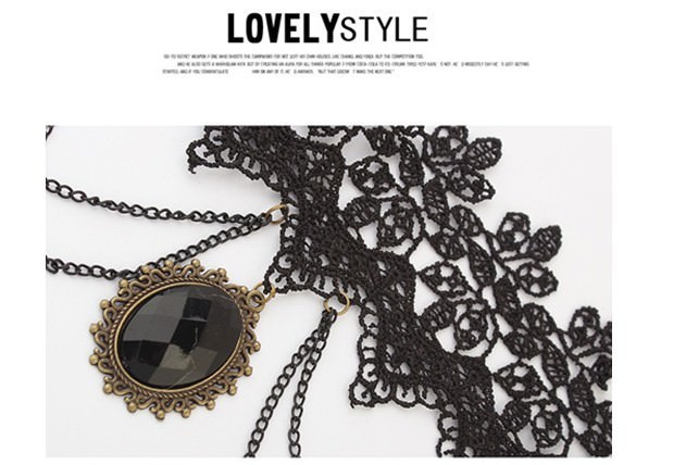 5030-700bfe8dd446611029488a9b5f99ca22 Retro Goth Black Lace Necklace Jewelry With Chains And Crystal Pendant