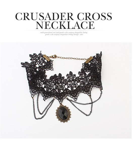 5030-82bcbdc132d143a4efad7240983faa6a Retro Goth Black Lace Necklace Jewelry With Chains And Crystal Pendant