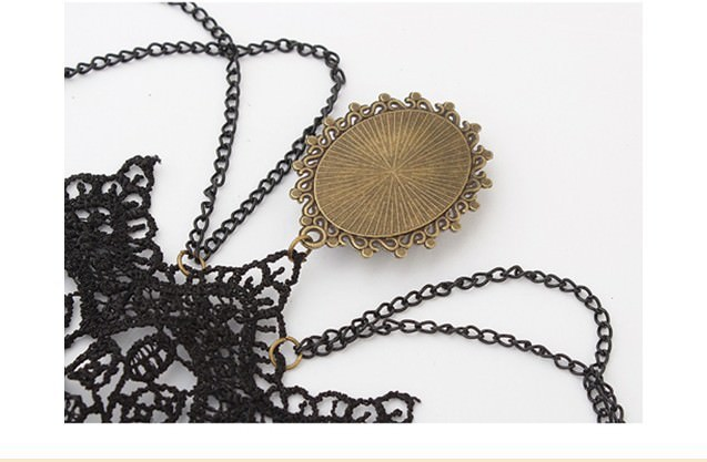 5030-a8cbf292323e397468ea36dd5c497b62 Retro Goth Black Lace Necklace Jewelry With Chains And Crystal Pendant