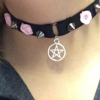 Punk Choker Necklace With Spikes, Rose And Star Pendant Accent