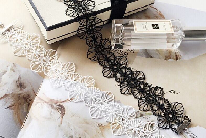 5033-45a260d396f1a01d2ce8bc353ef2bda7 Floral Lace Adjustable Choker Necklace in Black or White