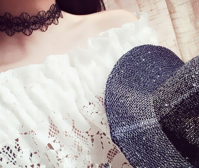5033-6e747c3d1e2d430d58d35affb2d6273b Floral Lace Adjustable Choker Necklace in Black or White