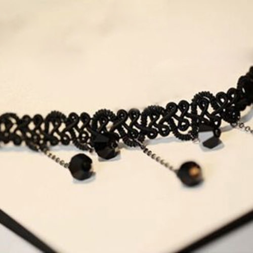 5034-2d7a4b398efb3280c2458dce84555ffd Black Choker Necklace with Drop Crystal Beaded Chains