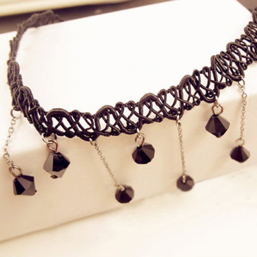 5034-45a4ddc656dc5052219f6d84a17c2f1c Black Choker Necklace with Drop Crystal Beaded Chains