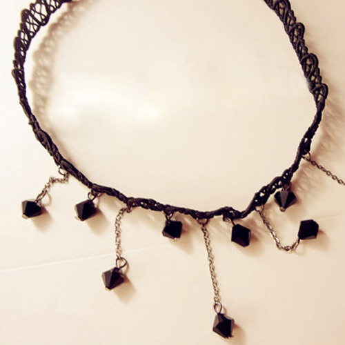 5034-5d49f3ea1cdd6164ad8057b91360c5b0 Black Choker Necklace with Drop Crystal Beaded Chains