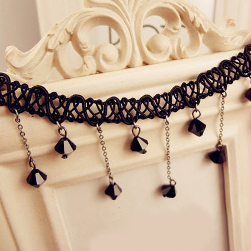 5034-64f39bd771ce7f8279e7626816af163d Black Choker Necklace with Drop Crystal Beaded Chains