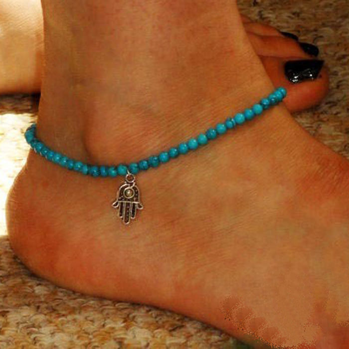 7052-26ac5db020b41b53f012052bed71b07c Attractive Beaded Anklet Jewelry With Hamsa Hand Pendant