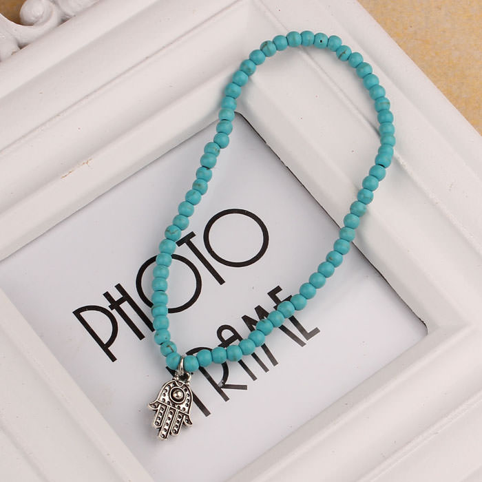 7052-520e49a6517f3679ae57e2d65a021244 Attractive Beaded Anklet Jewelry With Hamsa Hand Pendant