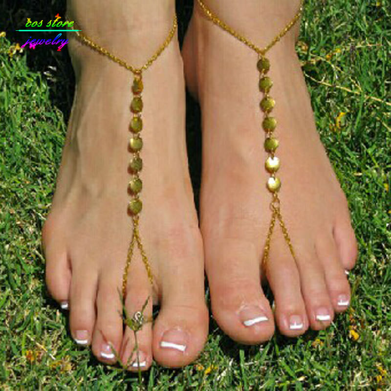 7058-417636fc9ea09054fbcd72af3a4d2893 Shiny Metal Coin Pendant Beach Barefoot Sandals Anklet Jewelry
