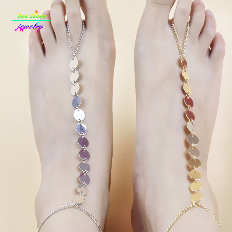 7058-9a4d4e2b92a6b9da12b323da30db4254 Shiny Metal Coin Pendant Beach Barefoot Sandals Anklet Jewelry
