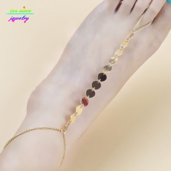 Shiny Metal Coin Pendant Beach Barefoot Sandals Anklet Jewelry