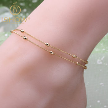 Hot Double Layered Chain Anklet Jewelry With Oval Beads