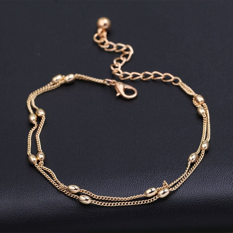 7061-f79ddbbea116a547e8787c52752e27b2 Hot Double Layered Chain Anklet Jewelry With Oval Beads