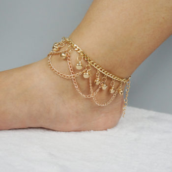 Gold Plated Drape Chain Anklet Jewelry With Bells