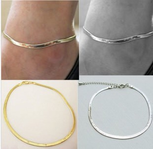 7064-fb4662afcdc2f0f5ef9580a4bccd29dc Elegant Gold/ Silver Plated Herringbone Chain Anklet Jewelry