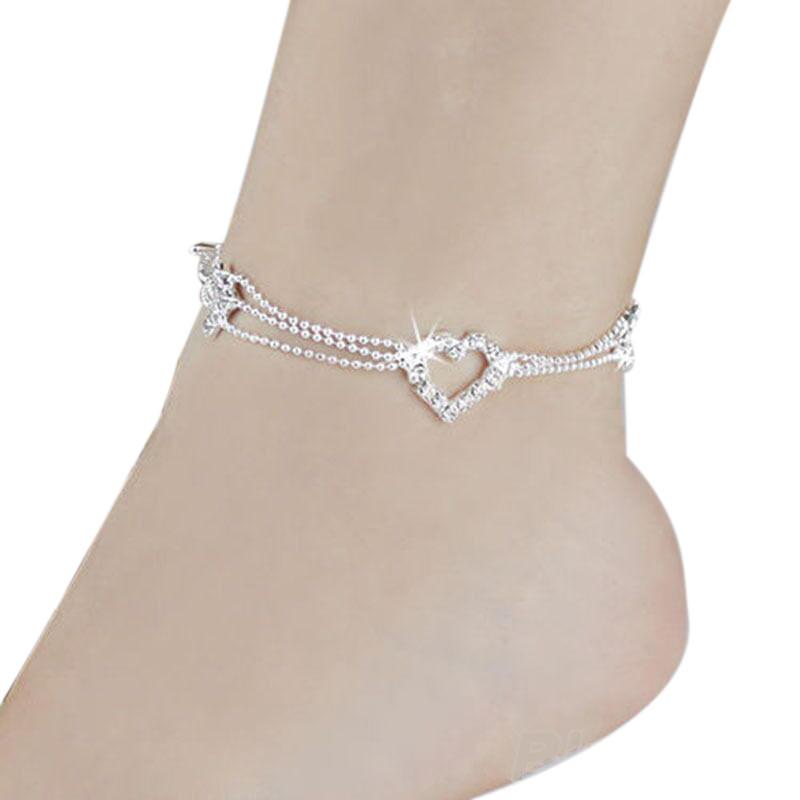 7066-3e946a6d929ce1f2ab010f4d40a75311 Silver Plated Heart Charm Anklet Jewelry With Rhinestones