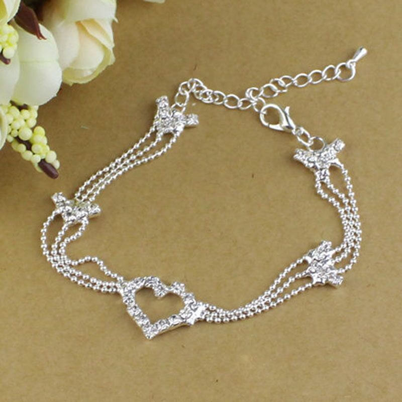 7066-5c6c9d12625bad1c4f7c20999c9e2c9e Silver Plated Heart Charm Anklet Jewelry With Rhinestones