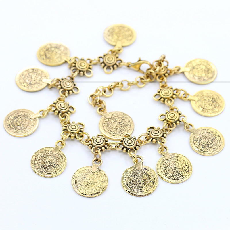 7068-42b9a0f56f57cc3c4d1a0a452b3afa75 Summer Beach Floral Chain Anklet Jewelry With Antique Coin Dangles