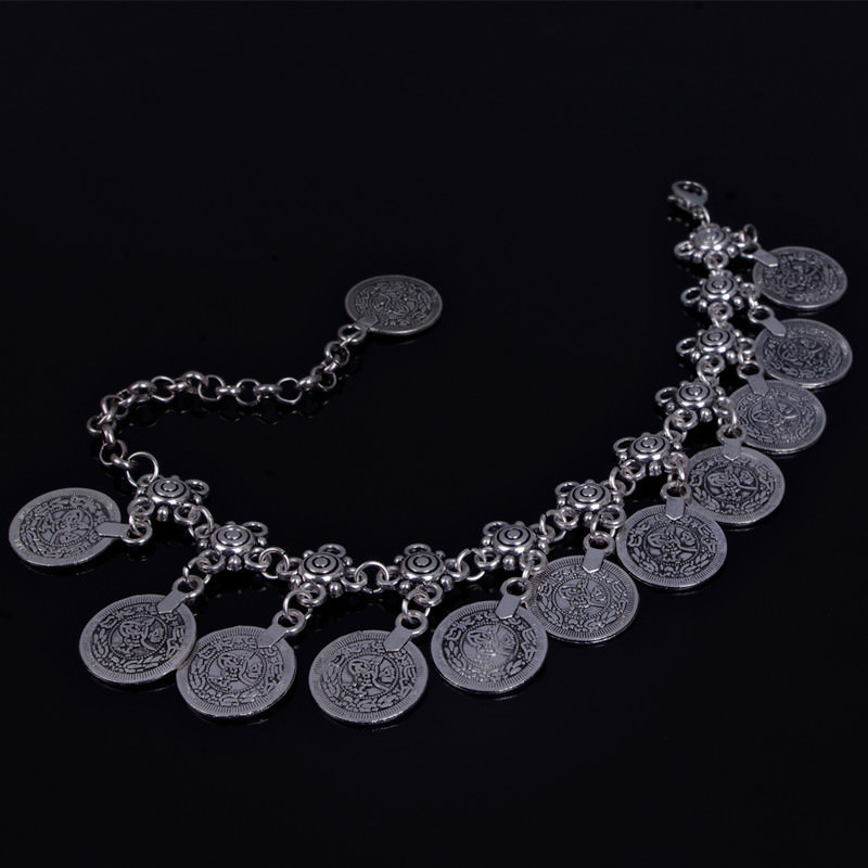 7068-4cc3f7c75389287261bd92b4c1f1ae92 Summer Beach Floral Chain Anklet Jewelry With Antique Coin Dangles
