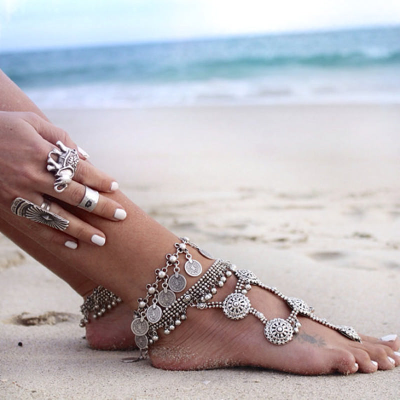 7068-4e58970b9984bab48394157390adfbaa Summer Beach Floral Chain Anklet Jewelry With Antique Coin Dangles