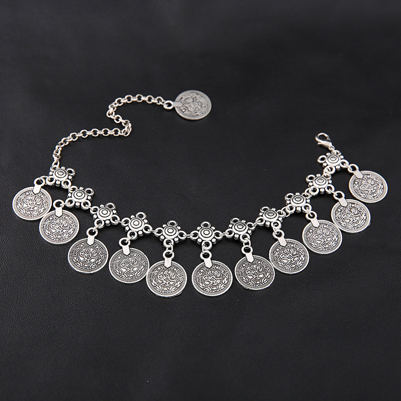 7068-59976cf3671ab71a6cf265cdb8e2549e Summer Beach Floral Chain Anklet Jewelry With Antique Coin Dangles