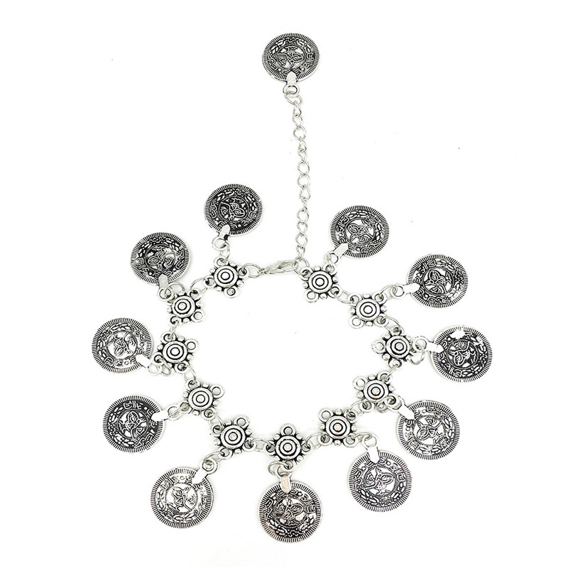 7068-60b06ab780d5936673768d2928c295d7 Summer Beach Floral Chain Anklet Jewelry With Antique Coin Dangles