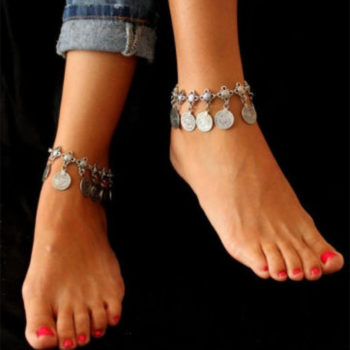 Summer Beach Floral Chain Anklet Jewelry With Antique Coin Dangles