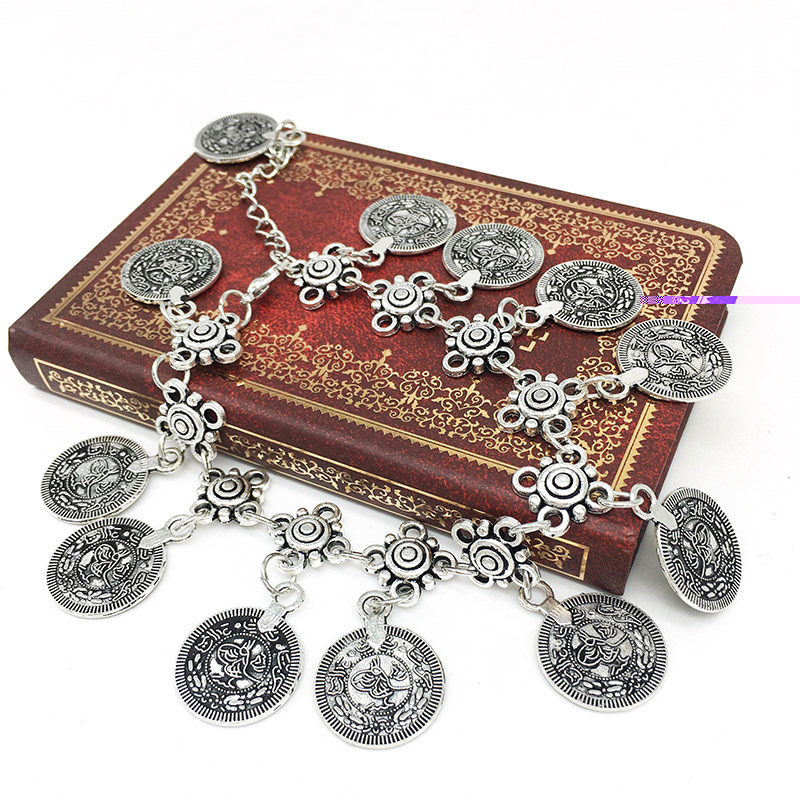 7068-c043ee7f8e5f2229a02d999d608c4c32 Summer Beach Floral Chain Anklet Jewelry With Antique Coin Dangles