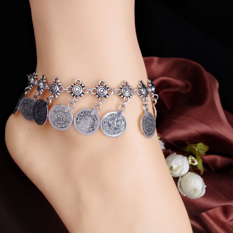 7068-ce4b1daf961410c856aea9091dbe0ee8 Summer Beach Floral Chain Anklet Jewelry With Antique Coin Dangles